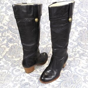 Coach Black Leather Knee Boots
